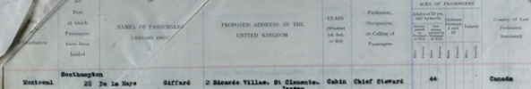 The National Archives of the UK; Kew, Surrey, England; Board of Trade: Commercial and Statistical Department and successors: Inwards Passenger Lists.; Class: BT26; Piece: 727; Item: 6. Ancestry.com. UK, Incoming Passenger Lists, 1878-1960 [database on-line]. Provo, UT, USA: Ancestry.com Operations Inc, 2008. Name: Giffard De La Haye; Birth Date: abt 1878; Age: 44; Port of Departure: Montréal, Québec, Canada; Arrival Date: 30 Jun 1922; Port of Arrival: Southampton, England; Ship Name: Melita; Shipping line: Canadian Pacific Line; Official Number: 136367.