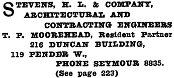 Henderson's Greater Vancouver Directory, 1912, Part 2, page 1221.