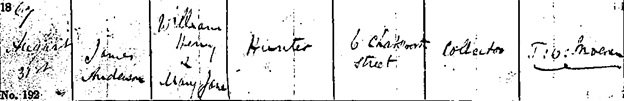 Liverpool Record Office; Liverpool, England; Liverpool Registers; Reference Number: 283 MTT/2/2. Ancestry.com. Liverpool, England, Church of England Baptisms, 1813-1906 [database on-line]. Provo, UT, USA: Ancestry.com Operations, Inc., 2011. Name: James Anderson Hunter; Baptism Date: 31 Aug 1867; Baptism Place: Toxteth, St Matthew, Lancashire, England; Father: William Henry Hunter; Mother: Mary Jane Hunter.