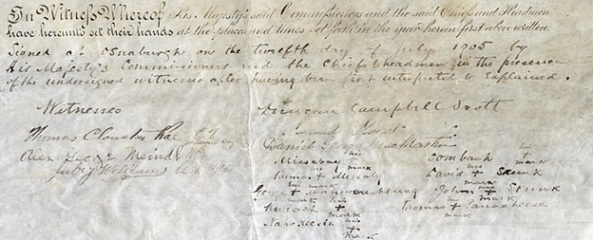 James Bay Treaty or Treaty No. 9; Thomas Clouston Rae, C.T., Hudsons Bay Co.; http://www.archives.gov.on.ca/en/explore/online/james_bay_treaty/big/p03_james_bay_treaty.aspx.