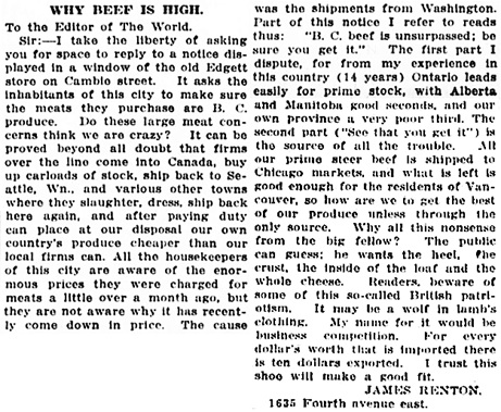 Vancouver Daily World, July 10, 1915, page 6, columns 5-6.