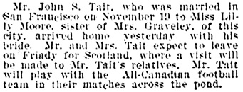Vancouver Daily World, November 26, 1902, page 4, column 3.