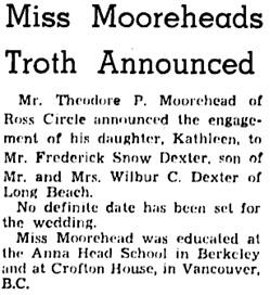 Oakland Tribune, October 27, 1941, page 11, column 4.