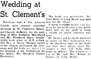 Oakland Tribune, November 17, 1941, page 8, column 4.