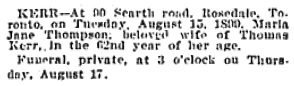 Maria Jane Thompson Kerr, death notice, Toronto Globe, August 17, 1899, page 12.
