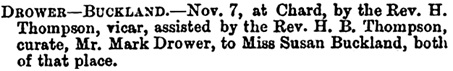 The Exeter and Plymouth Gazette (Exeter, England), November 10, 1865; page 5, column 4.