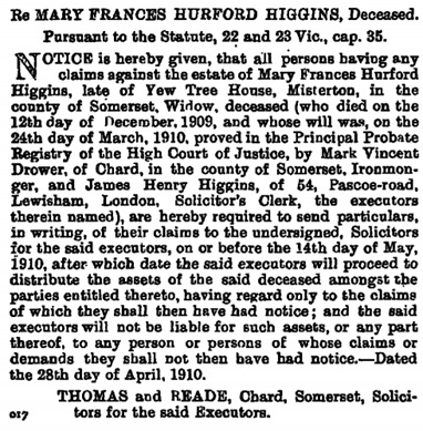 Mark Vincent Drower, co- executor of the will of Mary Frances Hurford Higgins, The London Gazette, May 3, 1910, page 3122; https://www.thegazette.co.uk/London/issue/28362/page/3122/data.pdf.