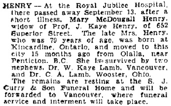 Victoria Daily Colonist, September 14, 1946, page 11, column 1; http://archive.org/stream/dailycolonist0946uvic_9#page/n10/mode/1up; [same as death notice in Victoria Daily Colonist, September 15, 1946, page 19, column 1; http://archive.org/stream/dailycolonist0946uvic_10#page/n18/mode/1up.]
