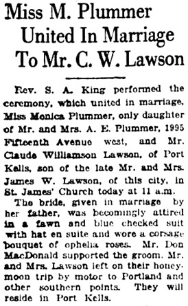Vancouver Daily World, June 21, 1923, page 7, column 1.