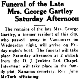 Nanaimo Daily News, January 30, 1930, page 4, column 4.