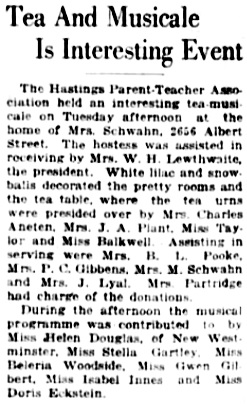 Vancouver Daily World, Wednesday, May 23, 1923, page 7, column 4.