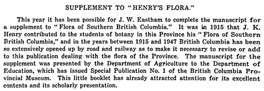 "Supplement to ""Henry's Flora,"" Report of the British Columbia Department of Agriculture, 1947, page R20; https://books.google.ca/books?id=YguPjtL1SqUC&pg=RA4-PA20&lpg=RA4-PA20&dq=eastham#v=onepage&q=eastham&f=false."