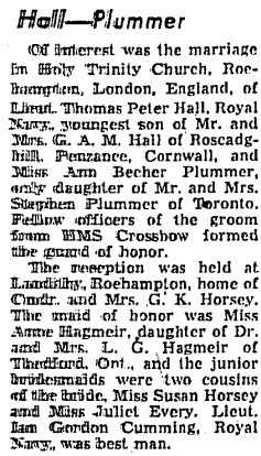 Toronto Globe and Mail, April 14, 1954, page 26, column 3.
