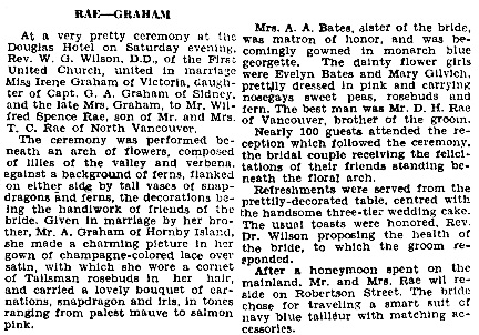 """Victoria Times, May 7, 1935, page 8; """"British Columbia, Victoria Times Birth, Marriage and Death Notices, 1901-1939,"""" database with images, FamilySearch (https://familysearch.org/ark:/61903/1:1:QLBL-4R9C : 30 October 2017), Wilfred Spence Rae and Irene Graham, Marriage May 1935, British Columbia, Canada; from Victoria Daily Times news clippings, City of Victoria Archives, British Columbia, Canada; citing Victoria Daily Times, 07 May 1935; FHL microfilm 2,223,253."""