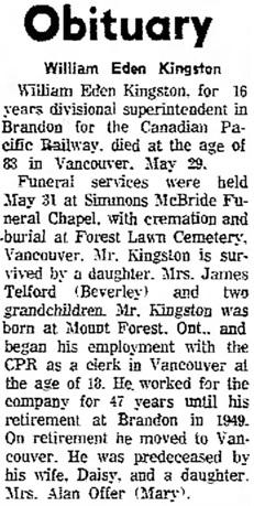 The Brandon Sun (Brandon, Manitoba, Canada), June 7, 1967, page 15, column 7.