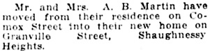 Vancouver Daily World, October 20, 1919, page 6, column 2.