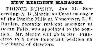 Vancouver Daily World, January 21, 1922, page 31, column 3.