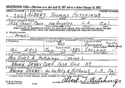 """United States World War II Draft Registration Cards, 1942,"" database with images, FamilySearch (https://familysearch.org/ark:/61903/1:1:V4DH-V14 : 8 November 2017), Albert Thomas Hutchings, 1942; citing NARA microfilm publication M1936, M1937, M1939, M1951, M1962, M1964, M1986, M2090, and M2097 (Washington D.C.: National Archives and Records Administration, n.d.)."