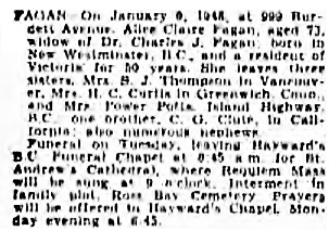 Victoria Daily Colonist, January 10, 1948, page 11, column 1 [best available copy]; http://archive.org/stream/dailycolonist0148uvic_6#page/n11/mode/1up.