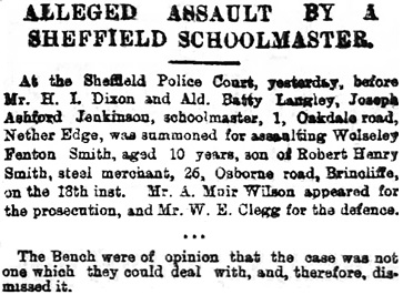 """Alleged Assault by a Sheffield Schoolmaster."" Sheffield & Rotherham Independent [Sheffield, England] 25 Oct. 1889, page 2, column 5 [excerpts]."