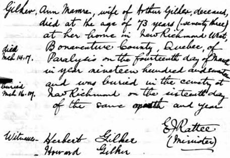 Ancestry.com. Quebec, Canada, Vital and Church Records (Drouin Collection), 1621-1968 [database on-line]. Provo, UT, USA: Ancestry.com Operations, Inc., 2008. Original data: Gabriel Drouin, comp. Drouin Collection. Montreal, Quebec, Canada: Institut Généalogique Drouin. Name: Gilker [Ann Mamre Dimock], [Ann Mamre Gilker]; Event: Enterrement (Burial); Burial Year: 1917; Burial Location: New Richmond, Québec (Quebec); Religion: Presbyterian; Place of Worship or Institution: Presbyterian Church.