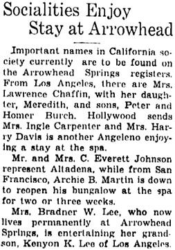 The San Bernardino County Sun (San Bernardino, California), October 22, 1938, page 7, column 2.
