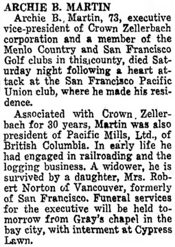 The Times (San Mateo, California), June 18, 1945, page 11, column 3.