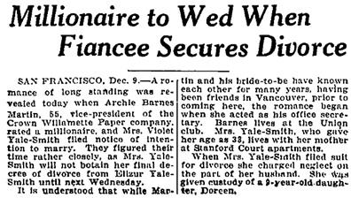 Oakland Tribune, December 9, 1927, page 3, columns 1-2.