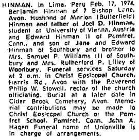 Hartford Courant (Hartford, Connecticut), February 22, 1974, page column 1.