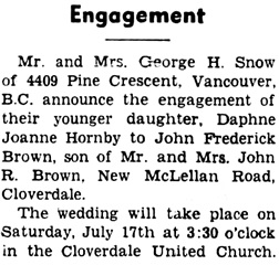 Surrey Leader (Surrey, British Columbia), July 1, 1954, page 1, column 3.