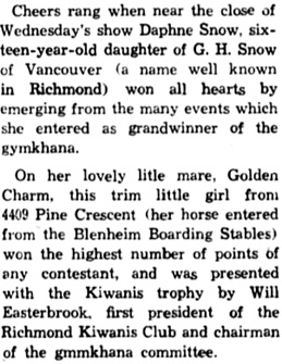 Richmond Review, (Richmond, British Columbia), August 27, 1947, page 3, column 3 [excerpt].