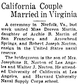 The San Bernardino County Sun (San Bernardino, California), February 3, 1942, page 9, column 5.