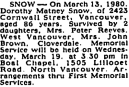 Vancouver Sun, March 17, 1980, page C-1, column 5; https://news.google.com/newspapers?id=EjFmAAAAIBAJ&sjid=_osNAAAAIBAJ&pg=1694%2C3538208 [link leads to column 6; death notice is in column 5].