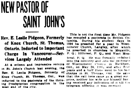 Vancouver Daily World, August 18, 1911, page 8, columns 4-7 [excerpts].