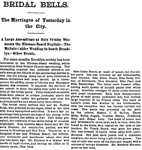 The Brooklyn Daily Eagle (Brooklyn, New York), April 21, 1887, page 1, column 7 [details of wedding ceremony and list of guests omitted].