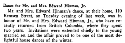 Brooklyn Life (Brooklyn, New York), January 22, 1916, page 15, column 2.
