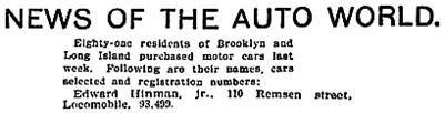 The Brooklyn Daily Eagle (Brooklyn, New York), March 28, 1910, page 26, column 6 [excerpt].