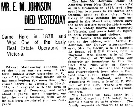 Victoria Daily Colonist, February 20, 1920, page 7, column 3; http://archive.org/stream/dailycolonist62y58uvic#page/n6/mode/1up.