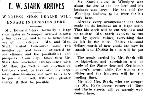 Vancouver Daily World, January 14, 1905, page 12, column 5.