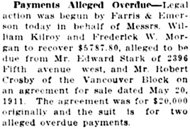 Vancouver Daily World, July 14, 1915, page 16, column 4.