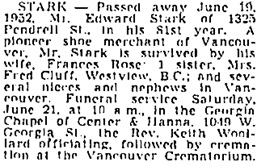 Vancouver Sun, June 20, 1952, page 33, column 4; https://news.google.com/newspapers?id=VIllAAAAIBAJ&sjid=B4oNAAAAIBAJ&pg=2223%2C3476303; same as Vancouver Province, June 20, 1952, page 28.
