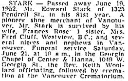 Vancouver Sun, June 20, 1952, page 33, column 4; https://news.google.com/newspapers?id=VIllAAAAIBAJ&sjid=B4oNAAAAIBAJ&pg=2223%2C3476303; same as Vancouver Province, June 20, 1952, page 28.