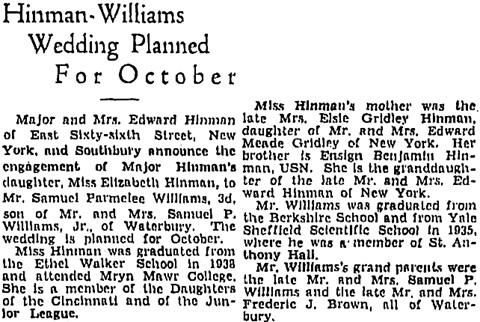 Hartford Courant (Hartford, Connecticut), September 1, 1941, page 9, column 3.