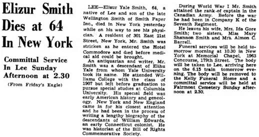 The Berkshire Eagle (Pittsfield, Massachusetts), January 18, 1950, page 29, column 5.