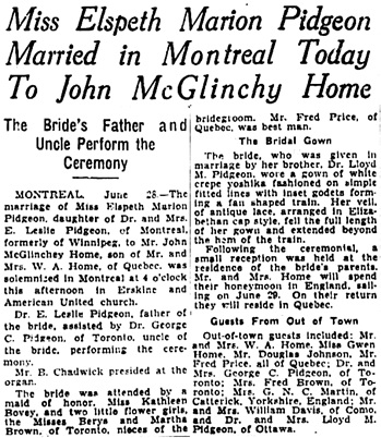The Winnipeg Tribune, June 28, 1934, page 6, columns 4-5.