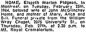 Montreal Gazette, February 26, 1964, page 31, column 7; https://news.google.com/newspapers?id=SzsjAAAAIBAJ&sjid=iJ4FAAAAIBAJ&pg=6696%2C5324423 [link leads to column 6; death notice is in column 7].