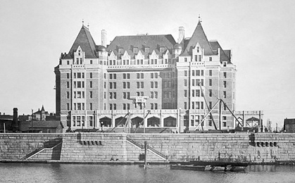 View of Empress Hotel nearing completion of construction, about 1907, Vancouver City Archives, Hot P63; http://searcharchives.vancouver.ca/view-of-empress-hotel-nearing-completion-of-construction.