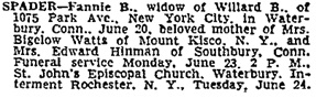 Fannie B. Spader, death notice, New York Times, June 21, 1952.