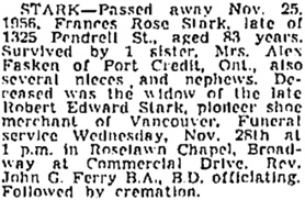 Vancouver Sun, November 26, 1956, page 28, column 6; https://news.google.com/newspapers?id=_DtlAAAAIBAJ&sjid=wYkNAAAAIBAJ&pg=1366%2C5361285; same as Vancouver Province, November 26, 1956, page 33.