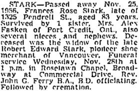 Vancouver Sun, November 26, 1956, page 28, column 6; https://news.google.com/newspapers?id=_DtlAAAAIBAJ&sjid=wYkNAAAAIBAJ&pg=1366%2C5361285; same as Vancouver Province, November 26, 1956, page 33.
